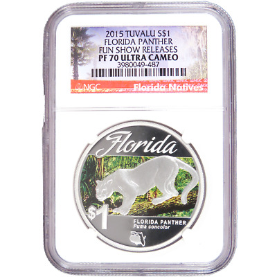 2015 $1 Proof Tuvalu Silver Florida Panther 1oz NGC PF70UC Fun Show Releases Flo