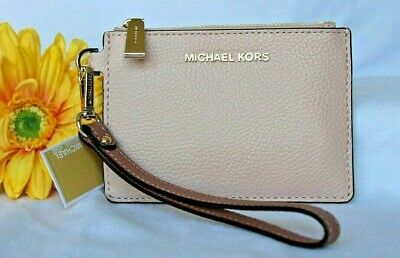 c291a258cb30 NEW Pink MICHAEL KORS Leather MONEY PIECES Small Coin Purse Wallet WRISTLET