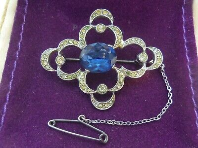 VINTAGE c1930's ART DECO FACETED SAPPHIRE BLUE PASTE STONE RHODIUM PLATED BROOCH