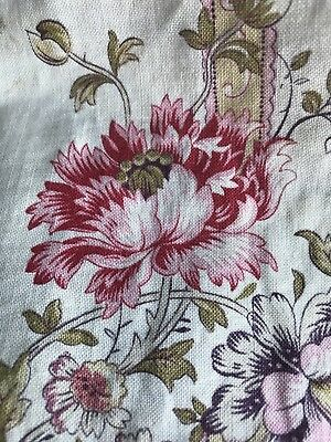 Superb Antique French Toile Madder Floral Shabby Chic  panel c1890s 80/60cms