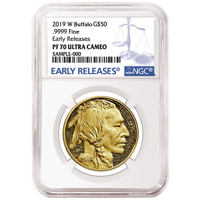2019-W Proof $50 American Gold Buffalo NGC PF70UC Blue ER Label
