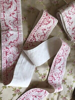 "2x Antique French beautiful Cotton Floral Fabric borders for decoration  21""&27"""