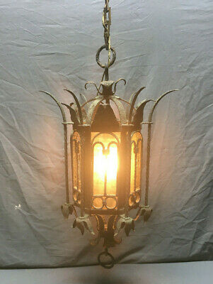 Antique Gothic Decorative Wrought Iron Ceiling Light Fixture Old VTG 103-19Lr