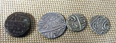 4 ISLAMIC SILVER COINS / INDIAN / PERSIAN ? 19th C. ? INDO PERSIAN SILVER COINS
