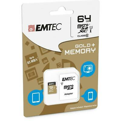 EMTEC MicroSD Card 32 GB/ 64GB SDXC CL.10 UHS1 U1 Gold + Adapter ✅ GARANTIE