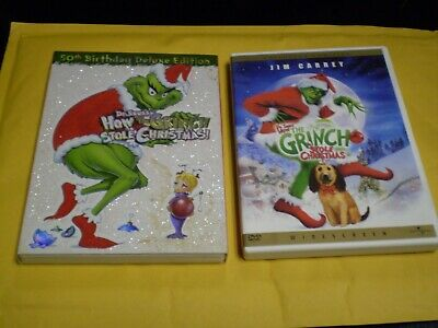 .(2) Dr. Seuss How the Grinch Stole Christmas DVD Lot: Jim Carrey & Animated