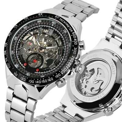 Automatic Mechanical Watch Men's Skeleton Gold/Silver Steel Stainless Wristwatch