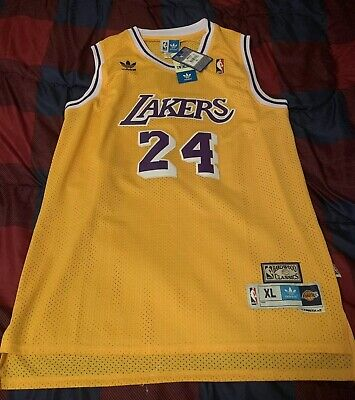 76c8f5e60fb NEW Kobe Bryant Lakers #24 Yellow Throwback Jersey XL NWT Adidas Authentic  Orig