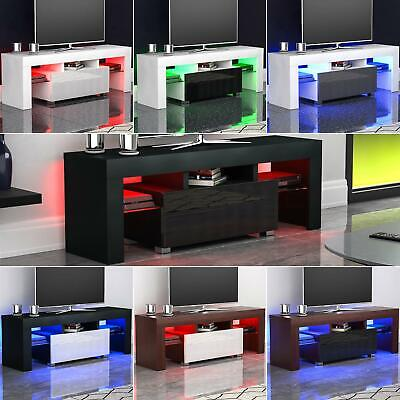 Luna LED TV Stand Cabinet Unit 1 Drawer Gloss Matte MDF Entertainment Modern RGB