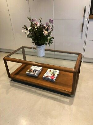 Mid Century 60's Teak Danish Style Glass Top Coffee Table By G Plan