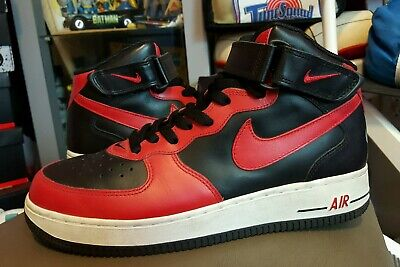 official photos c8653 35a48 Vtg 2004 NIKE AIR FORCE 1 MID sz8.5 bred Jordan 1 red toe RARE