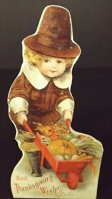 Bethany Lowe Thanksgiving Dummy Board Pilgrim Boy With Cart RL9183 New