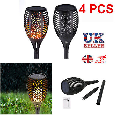 4PCS 96LED Waterproof Solar Torch Light Dancing Flickering Flame Garden Lamps UK