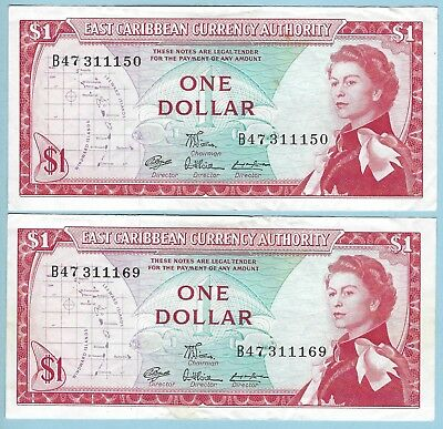 1965 Good Ostkaribisch 1 Dollar Nd east Caribbean Currency Authority P-13e