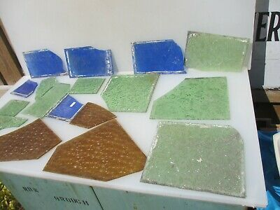 Vintage Stained Glass Window Panel Antique Raised Floral Flowers Old JOB LOT