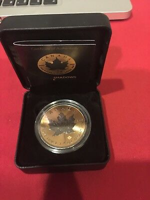 2016 1 Oz Silver MAPLE LEAF SHADOW Coin WITH Ruthenium AND 24K GOLD GILDED...