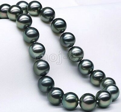 12mm Natural Black South Sea Shell Pearl Round Gems Loose Beads 15'' Strand