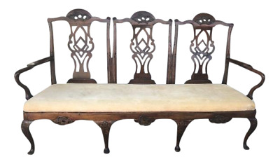 Walnut Chippendale Style Hall Seat, Bench, Settee Queen Anne Style Legs.