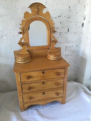 Antique Salesman Sample Dresser With Mirror Scrub Pine Carved Child's Doll