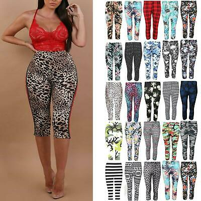 Womens Ladies 3/4 Length Printed Legging Jeggings Stretchy Pants Skinny Leggings