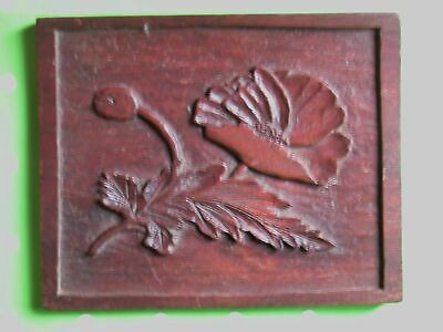 Vintage Small Hand Carved English Oak Panel of a Poppy.