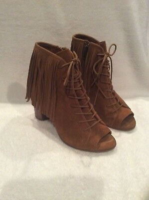 9be8a828a5f Womens Steve Madden Newporte Brown Leather Ankle Open Toe Booties Size 7.5B