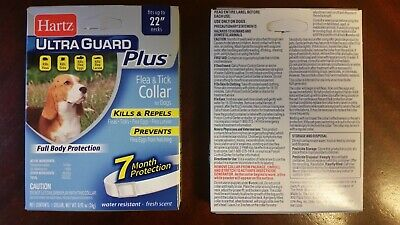 "Hartz Ultra Guard Plus Flea & Tick Collar for Dogs 7 month protection 22 "" neck"