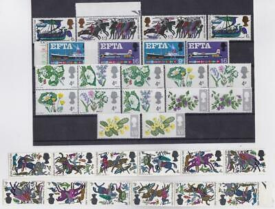 GREAT BRITAIN 1966/67 / 20v Complete sets + 2 strips of 5v / MNH / T14600