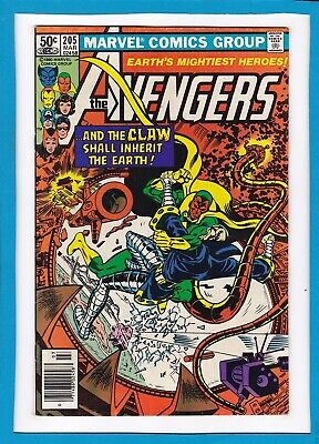 """Avengers #205_March 1981_Vf/nm_""""...and The Claw Shall Inherit The Earth""""!"""