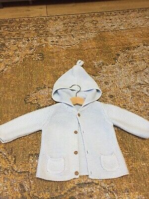 Next Boys Blue Knitted Hooded Cardigan 3-6 Months