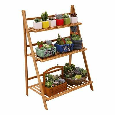 Ufine Bamboo Wood Ladder Plant Stand 3 Layer Foldable Flower Pot Display Shelf R