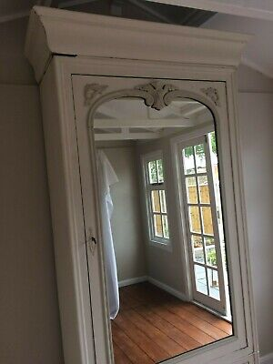 French Armoire Mirrored Cupboard/Bookcase - Antique Shabby Chic