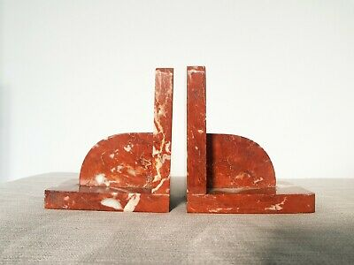 ORIGINAL VINTAGE ART DECO MARBLE BOOKENDS - 1930s RED MARBLE