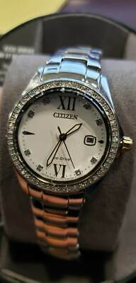 Citizen FE1144-85B Women's Eco-Drive Crystal Accented Bezel Two Tone Watch USED