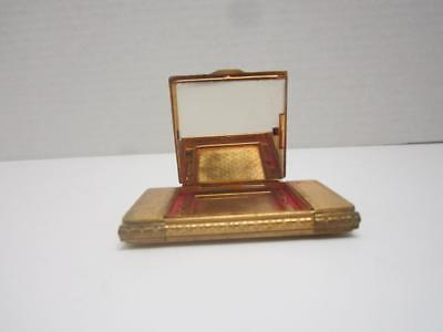 Vintage Ladies Compact With Mirror For Rouge Gold Tone With Enamel Floral Top
