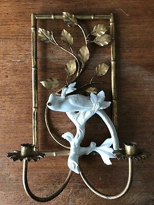 Vintage Italian Wall Candle Sconce with Gilded Flora & Ceramic Peacock