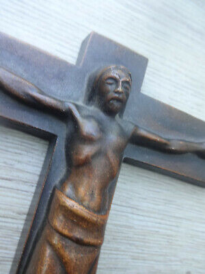 Ancient German bronze crucifix marked backside GREAT SACRED ART Expressionist