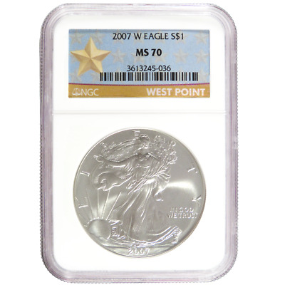 2007-W $1 Burnished American Silver Eagle NGC MS70 West Point Star Label