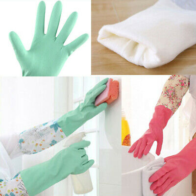Kitchen Household Long Sleeve Rubber Gloves Latex Washing Up Dishes Cleaner Tool