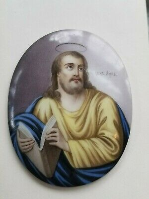 """Porcelain Hand painted Religious convex plaque oval 2.75"""" x 2.25"""" Marked"""