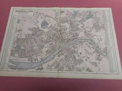 100% Original Large Scale Plan Of Newcastle On Tyne Map By Bacon C1896 Railways