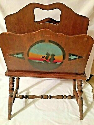 Vintage Antique Magazine Rack Stand Wood Wooden 27 Inches Tall