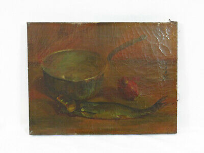 Original Signed Painting 19Th / 20Th C Antique Still Life W Fish Flemish School