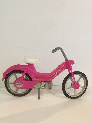 "Barbie hot pink bicycle moped motor bike 12"" doll accessory toy vintage '83 used"