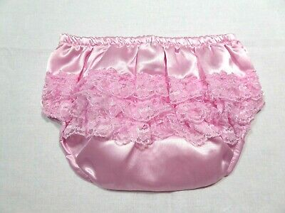 Girls baby wedding christening party satin pink frilly knickers