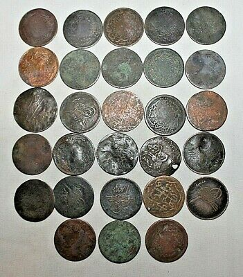 Lot of (28) Antique OTTOMAN EMPIRE Lira Para Early Date Coins 1800 - 1900s GOOD