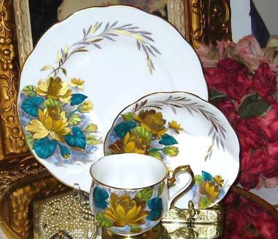 Royal Albert YELLOW TEAL & GOLD WATER LILY Tea Cup & Saucer Plate Trio H Painted