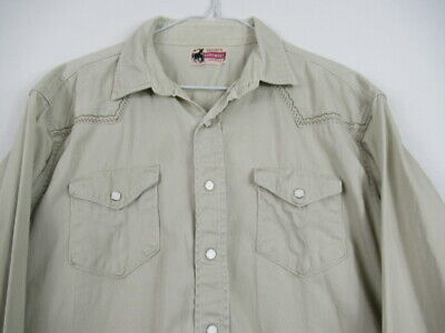 VINTAGE 50s Penneys Foremost Western Shirt Pearl Snap Cowboy Stitched Sanforized