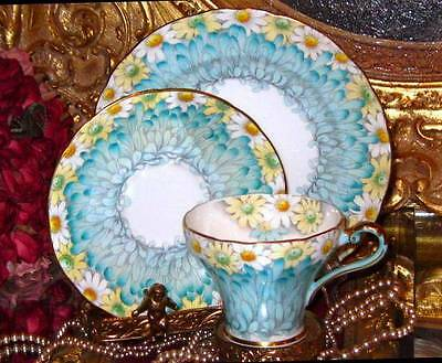 Aynsley DAISY PETAL FLORAL CHINTZ TURQUOISE Tea Cup + Saucer Plate Trio