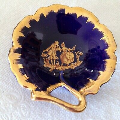 LIMOGES FRANCE Courting Couple Gold Cobalt Blue DISH Veritable Porcelaine D'Art